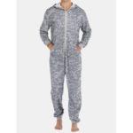 New              Men Gray Camo Loungewear Jumpsuit Thicken Thermal Loose Zip