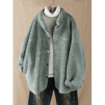 New              Plus Size Women Fleece Solid Color Stand Collar Coats