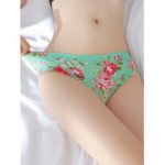 New              Lace-trim Floral Printed Seamless Ice Silk Briefs