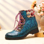 New              SOCOFY Retro Genuine Leather Embossed Pattern Ankle Boots