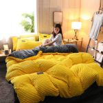 New              4Pcs AB Sided Thicken Corduroy Velvet Winter Bedding Sets Full Queen King Size Duvet Cover
