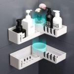 New              Rotating Corner Bathroom Storage Rack Shower Shelf Organizer Basket Tidy Hook Bathroom Shelf Rack