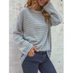 New              Women Casual Striped Crew Neck Long Sleeve Sweaters