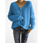 New              Women Solid Color V-Neck Button Down Sweaters Cardigans