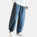 New              Mens Cotton Pure Color Elastic Waist Loose Comfy Casual Pant
