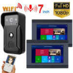 New              7 inch 2 Monitors Wired /Wireless Video Doorbell Intercom Entry System with HD 1080P Wired Camera Night Vision,Support Remote APP intercom,unlocking,Recording,Snapshot