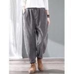 New              Plus Size Vintage Corduroy Solid Color Elastic Waist Pants