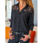 New              Women Causal Lace Patch Long Sleeve Blouse