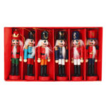 New              6pcs 12cm Wooden Nutcracker Doll Soldier Christmas Ornaments Xmas Gifts Decorations