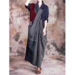 New              Casual Loose Check Patchwork Maxi Dress
