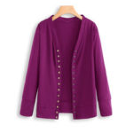 New              Women Long Sleeve Button Solid Color Knit Sweaters