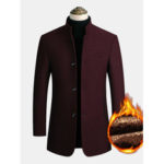 New              Mens Wool Blends Business Casual Trench Coats Fleece Lined Warm Wool Jackets Coats