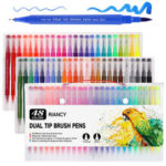 New              48/100 Colors Double-headed Marker Pen Art Brush Watercolor Dual Tip Pens