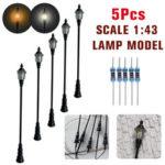 New              5Pcs/Set 1:43 HO Scale LED Model Post Street Garden Light Railway Train Lamps