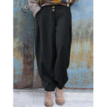 New              Women Elastic Waist Casual Loose Harem Pants