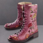 New              LOSTISY Women Flower Embroidered Chunky Heel Ankle Boots