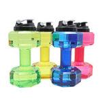 New              2.2L Unisex Sports Water Bottles Leakproof Unbreakable Plastic Bottle Shaker Yoga Fitness Dumbbell Kettle