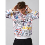 New              Mens Loose Fashion Loose Graffiti Letter Print Sweatshirt