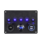 New              12/24V 5 Gang Blue LED Rocker Switch Panel Dual USB Car Boat Marine RV Truck ON-OFF
