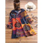 New              Vintage Printed Hooded Long Sleeve Plus Size Blouse