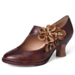 New              SOCOFY Women Flower Decoration Genuine Leather Retro Pumps