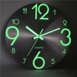 New              Luminous Wall Clock Number Quartz Hanging Clocks Glow In The Dark Bedroom Decor