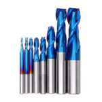 New              Drillpro 8PCS HRC55 Blue Nano Tungsten Carbide 2 Flute End Mill Set R1-R6 Milling Cutter CNC Router Bits for Metal Wood Stainless Steel Aluminum Copper Plastic Acrylic