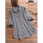 New              Plus Size Plaid Floral Embroidery Irregular Lapel Shirts