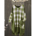 New              Plus Size Plaid Patchwork Irregular Pocket Casual Dress