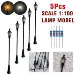 New              5Pcs/Set 1:100 HO Scale LED Model Post Street Garden Light Railway Train Lamps