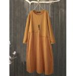 New              Plus Size Patchwork Crew Neck Cotton Casual Dress