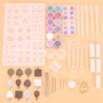 New              107Pcs/Set Pendant Trays Set DIY Jewelry Bezel Making Crystal Bracelet Pendant Silicone Resin Mould Jewelry Casting Molds Kit Vintage Base