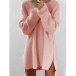 New              Casual Solid Color Side Zipper Hem Sweaters Dress