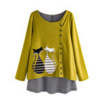 New              Stripe Cartoon Cat Print Patchwork Long Sleeve Blouse