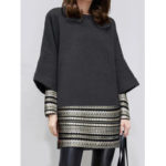 New              Casual Patch Print Crew Neck Long Sleeve Work Dress