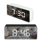 New              LED Mirror Alarm Clock Digital Snooze Table Clock Wake Up Temperature Display