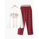 New              O Neck Cotton Printed Long Sleeve Casual Pajama Set