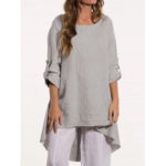 New              Women Crew Neck Loose Causal Solid Blouse