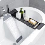 New              Extendable Bath Tub Drain Shelf Caddy Rack Shower Holder Rack Storage Tray Organizer