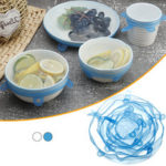 New              6Pcs Food Silicone Stretch Kitchen Storage Container Bowl Cover Fresh Keeping Vacuum Sealed Lid