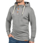New              Mens Casual Drawstring Buttons Hoodies Solid Color Long Slee