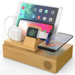 New              Bamboo 4 USB Ports Docking Station With Qi Wireless Charger Phone Holder Tablet Stand Watch Holder for Smart Phone Tablet Apple Watch Series