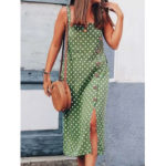 New              Polka Dot Print Sleeveless Straps Maxi Dress