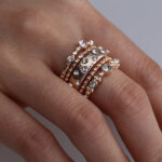 New              Stackable Ring Set Metal Geometric Rhinestone Inlay Ring