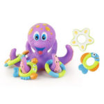 New              Octopus Floating Soft Rubber ABS Baby Bath Toys with 5 Marine Animal Rings Cast Circle for Kids Gift