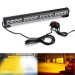 New              18Inch 16LED Emergency Traffic Advisor Flash Strobe Light Bar Warning Lamp White+Amber Color with Switch
