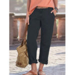 New              Women Solid Color Loose High Waist Pants