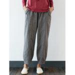New              Plus Size Striped Elastic Waist Vintage Casual Pants
