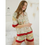 New              Satin Lapel Button Down Floral Printed Short Sleeve Pajamas