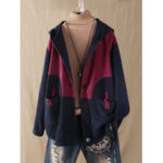 New              Plus Size Women Corduroy Patchwork Button Hooded Jacket